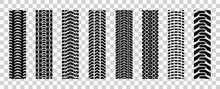 Machinery Tires Track Set, Tire Ground Imprints Isolated, Vehicles Tires Footprints, Tread Brushes, Seamless Transport Ground Trace Or Marks Textures, Wheel Treads - Vector