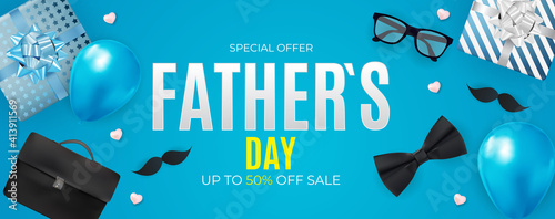 Father`s Day Sale Background.  Poster, flyer, greeting card, header for website. Vector Illustration. EPS10 © yganko