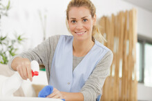 Beautiful Young Housekeeper Cleaning And Washing Kitchen