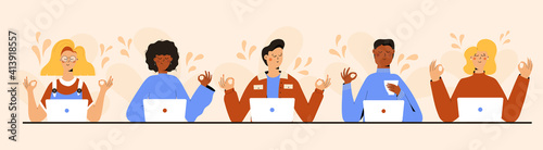 Obraz na plátně Set of Business people Meditating, Practicing Yoga Meditation at Workplace Sitting in front of laptop