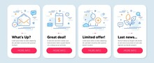 Set Of Line Icons, Such As Mail, Smartphone Payment, Add User Symbols. Mobile App Mockup Banners. Plants Watering Line Icons. E-mail, Mobile Pay, Profile Settings. Water Drop. Mail Icons. Vector