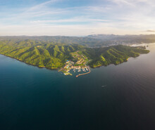 Panoramic Aerial View Of The Bannister Harbour And The Yacht Club Near A Luxury Resort On A Beautiful Paradise Island, Dominican Republic.