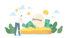 Profitable Idea, Start Up Project Development In Incubator. Tiny Businessman Character Take Dollars From Birds Huge Nest