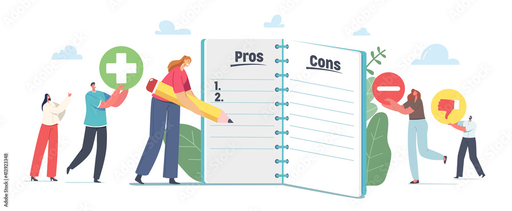 Fototapeta People Make Important Decision. Tiny Male and Female Characters at Huge Notebook Sheet Writing Pros and Cons in Column
