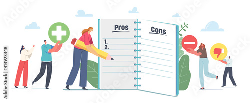 Fototapeta People Make Important Decision. Tiny Male and Female Characters at Huge Notebook Sheet Writing Pros and Cons in Column obraz