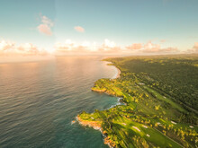 Aerial View Of A Beautiful Coastline With Cliffs On A Paradise Island At Sunset, Maria Trinidad Sanchez State, Dominican Republic.