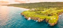 Aerial View Of Cabo Tutinferno Cliffs And Playa Grande Beach With A Beautiful Golf Course, Río San Juan, María Trinidad Sánchez, Dominican Republic.