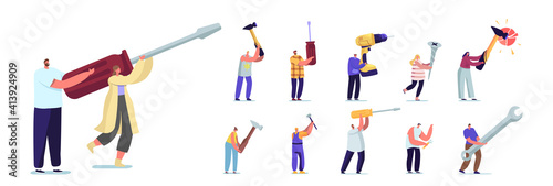 Obraz Set of People with Hand Instruments. Tiny Male and Female Characters Holding Huge Tools Screwdriver, Hammer and Wrench - fototapety do salonu