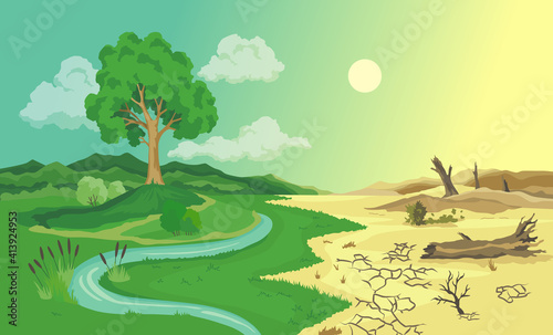 Photo Climate change desertification illustration
