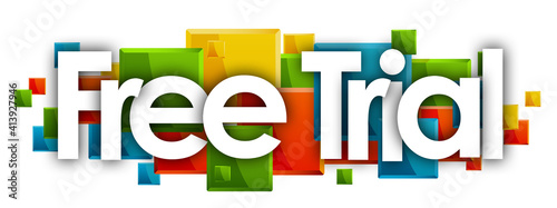 Fotografie, Obraz Free Trial word in colored rectangles background