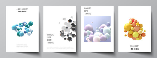 Vector layout of A4 cover mockups templates for brochure, flyer layout, booklet, cover design, book design, brochure cover. Realistic vector background with multicolored 3d spheres, bubbles, balls.