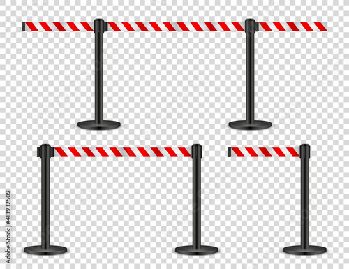 Fototapeta Realistic retractable belt stanchion on transparent background