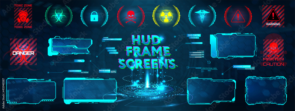 Fototapeta GUI, HUD, UI futuristic frame screen, Callouts titles and Hologram digital info bars. UI Callout bar labels box. Info template Futuristic User Interface. Vector Sci-fi border frame GUI. Screens HUD