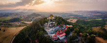 Panorama Landscape Of Wat Pa Phu Hai Long On The Mountain At Sunset And Twilight At Pak Chong, Nakhon Ratchasima, Thailand.