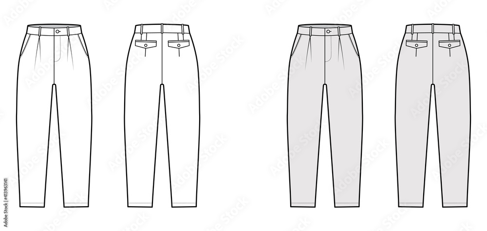 Fototapeta Capri pants technical fashion illustration with belt loops, mid-calf length, normal waist, high rise, slashed, flap pocket. Flat breeches bottom front, back, white grey color. Women, men CAD mockup