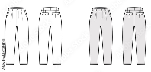 Obraz Capri pants technical fashion illustration with belt loops, mid-calf length, normal waist, high rise, slashed, flap pocket. Flat breeches bottom front, back, white grey color. Women, men CAD mockup - fototapety do salonu