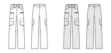 Set Of Ski Pants Technical Fashion Illustration With Low Waist, Rise, Zipper Pockets, Belt Loops, Full Lengths. Flat Bottom Apparel Template Front Back, White, Grey Color Style. Women, Men, Unisex CAD