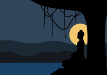 Makha Bucha Or Visakha Day Concept Vector Illustration. Buddha Meditation Nearby River With Full Moon At Night In Flat Design.