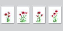 Nature Art Poster Design. Wall Art Watercolor Abstract. Paintings Flowers. Vector Pattern. Stock Image. EPS 10.