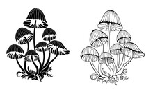 Silhouette Hallucinogenic Mushrooms
