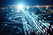 canvas print picture - Futuristic road transportation technology with digital data transfer graphic showing concept of traffic big data analytic and internet of things .