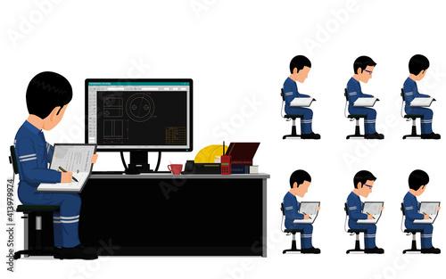 Fototapeta set of industrial worker is working on his desk obraz