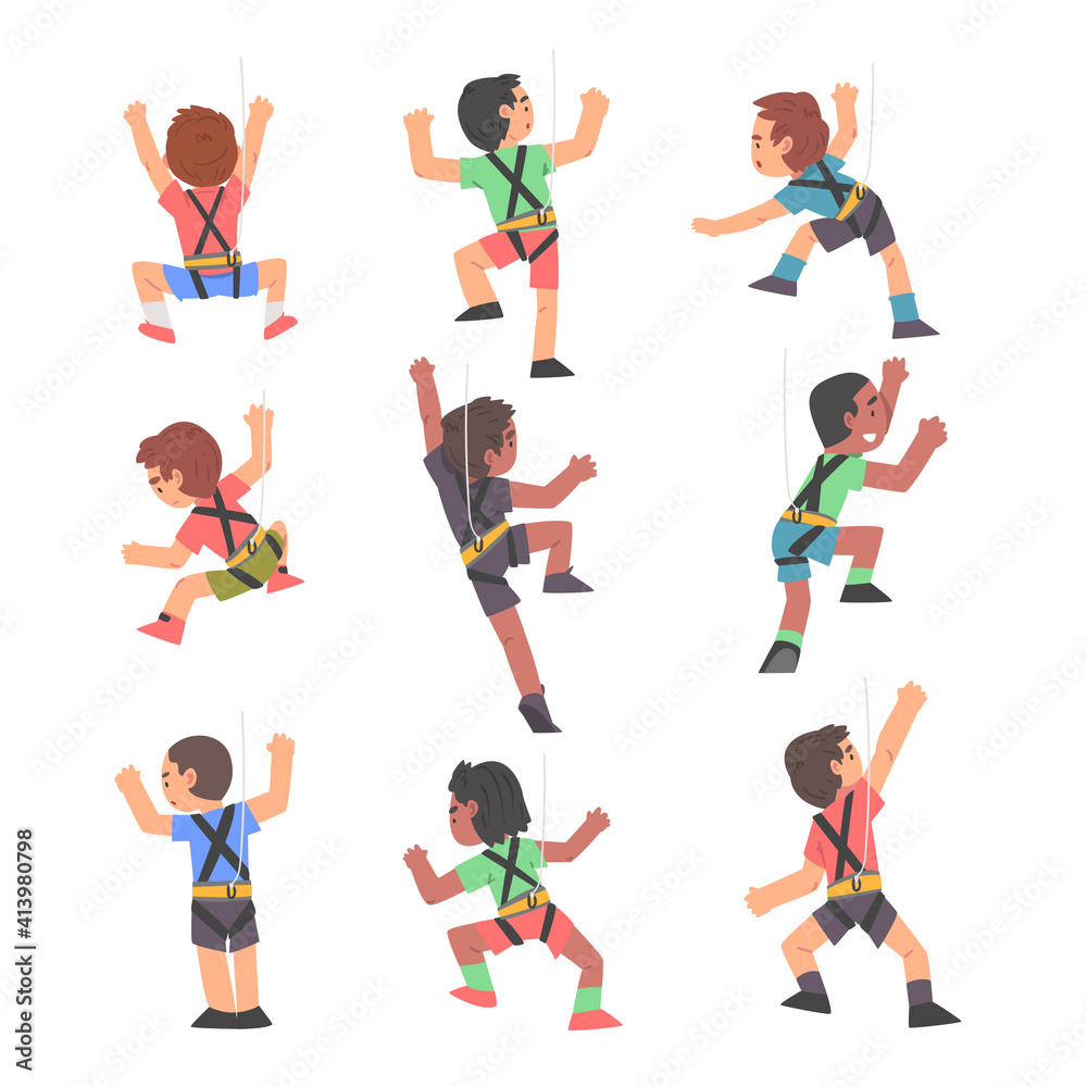 Fototapeta Boy Rock Climbers Characters Set, Cute Kids Climbing Wall, Boys Doing Sports or Having Fun in Adventure Park Cartoon Style Vector Illustration