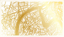 New Taipei City Taiwan City Map In Retro Style In Golden Color. Outline Map.