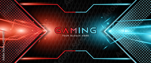 Canvas Print Futuristic red and blue abstract gaming banner design template with metal technology concept