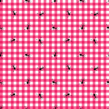 .Picnic Seamless Pattern. Cute Ants On A Pink Checkered Background. Vector Cartoon Design..