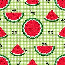 Picnic Seamless Pattern. Cute Ants And Slices Of Juicy Watermelon On A Checkered Background. Vector Cartoon Design..