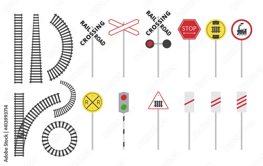 Fototapeta Train railroad sign set - isolated rail tracks and warning road signs