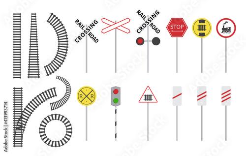 Fototapeta Train railroad sign set - isolated rail tracks and warning road signs obraz