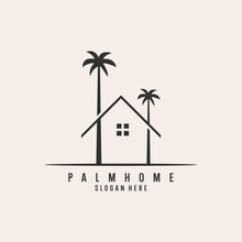 Holiday  Beach With Tree Palm And Home Logo Design