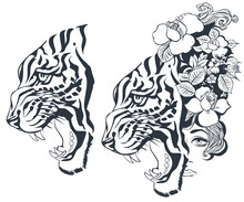Sketch Of Tiger And Girl Tattoo. Illustration For Internet And Mobile Website.