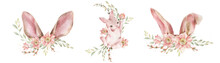 Cartoon Bunny Ears With A Wreath Of Pastel Colors Flowers And Greenery.
