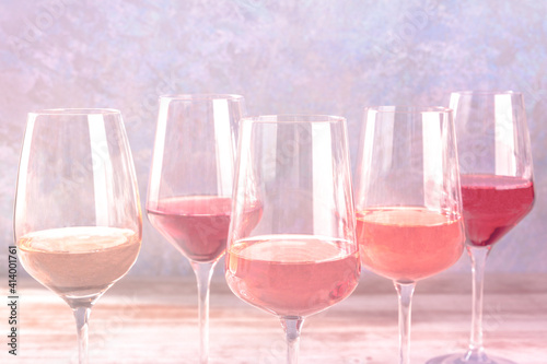 Fototapeta Various styles of rose wine, side view with a place for text, toned image obraz