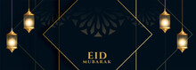Islamic Eid Mubarak Banner In Dark Theme Color