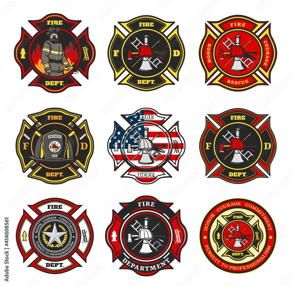 Fototapeta Fire department badges, firefighter team cross shaped emblems with fireman in uniform, helmet and gas mask standing in flame, firefighter tools and equipment, leatherhead helmet and star vector