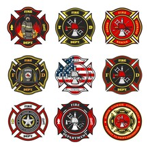 Fire Department Badges, Firefighter Team Cross Shaped Emblems With Fireman In Uniform, Helmet And Gas Mask Standing In Flame, Firefighter Tools And Equipment, Leatherhead Helmet And Star Vector
