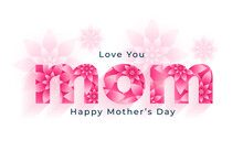 Hapy Mothers Day Sweet Flower Card Design