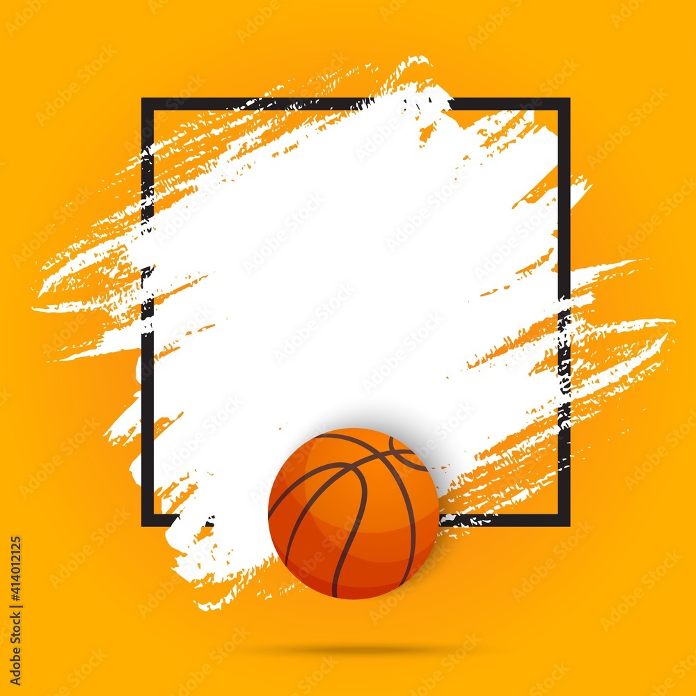 Fototapeta Basketball sport ball flyer or poster background, vector paint brush background. Streetball or basketball tournament and champion league game playoff match, varsity fan club empty orange template