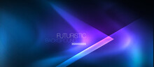 Neon Geometric Abstract Background. Triangles With Color Glowing Light Effects In The Dark. Vector Illustration For Covers, Banners, Flyers And Posters And Other