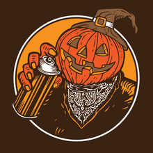 Pumpkin Halloween Graffiti Bomber Character Design Mascot Vector Illustration