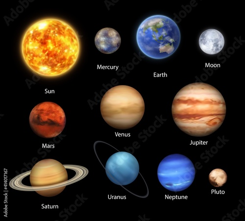 Fotografie, Obraz Planets of Solar System realistic set of vector space, astronomy design