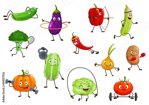 Fototapeta Vegetables sportsmen, isolated vector broccoli, squash and onion, potato, bell pepper and eggplant with chili or pumpkin. Tomato, cucumber cartoon veggies healthy lifestyle and sport cartoon icons set obraz