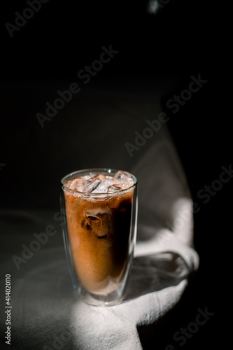 glass of coffee with milk on the table © pariwatpannium