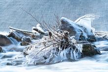 Eis Am Nürtinger Wasserfall Im Winter