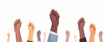 International Womens Day Mix Race Raised Fists Strong Girl Power Concept Different Nationalities Female Hands Horizontal Vector Illustration