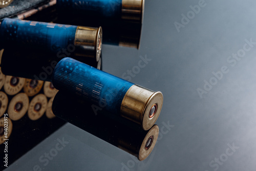 Rifle bullets or cartridges on black shiny background Wallpaper Mural